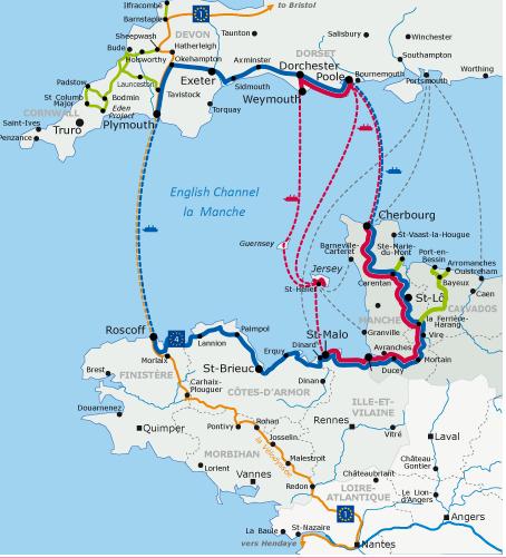 Tour de Manche in blue, Petit Tour de Manche in red