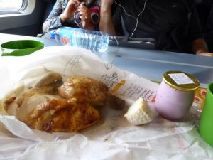 Poulet, yogurt and cheese from the market