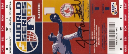 2007 World Series Ticket Signed by Jason Veritek