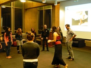 Allison Scola, Owner and Curator of Experience Sicily leading a tarantella workshop at University of Pennsylvania (Photo Credit: Lilly Veneziano-Broccia)