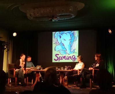 BücherFrauen Neujahrsempfang im Grünen Salon mit den Künstlerinnen von Spring Comics