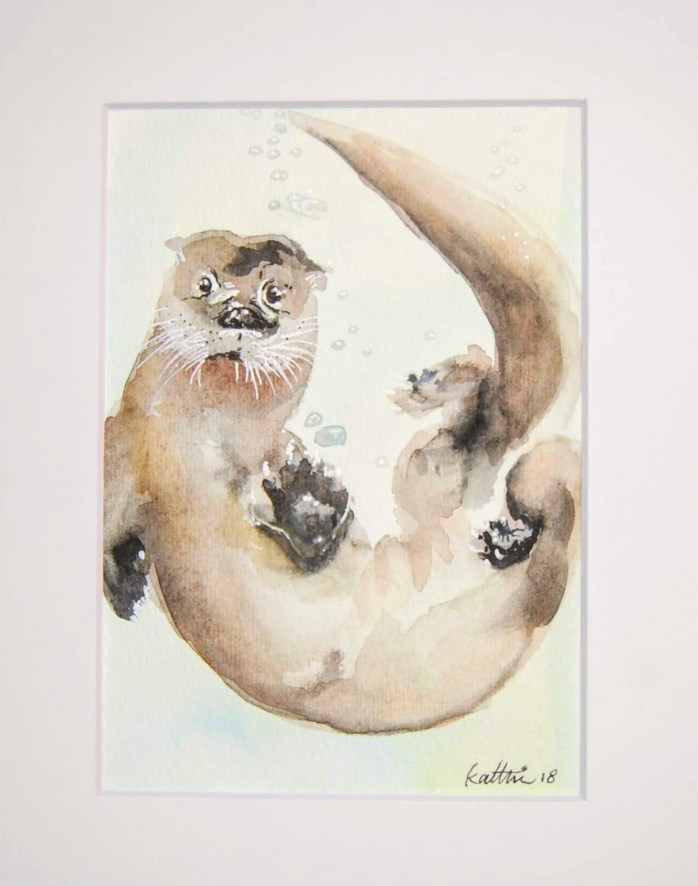 """Otterly Adorable"" Small watercolor painting of an otter playing underwater. https://experimentaldesignllc.com/product/otterly-adorable/"