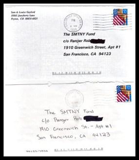 Most people sent cash inside the envelope