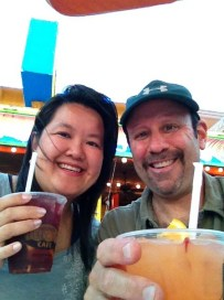 Enjoying a cocktail before our meeting with our Penang landlord