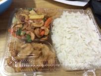 The chicken and veggies