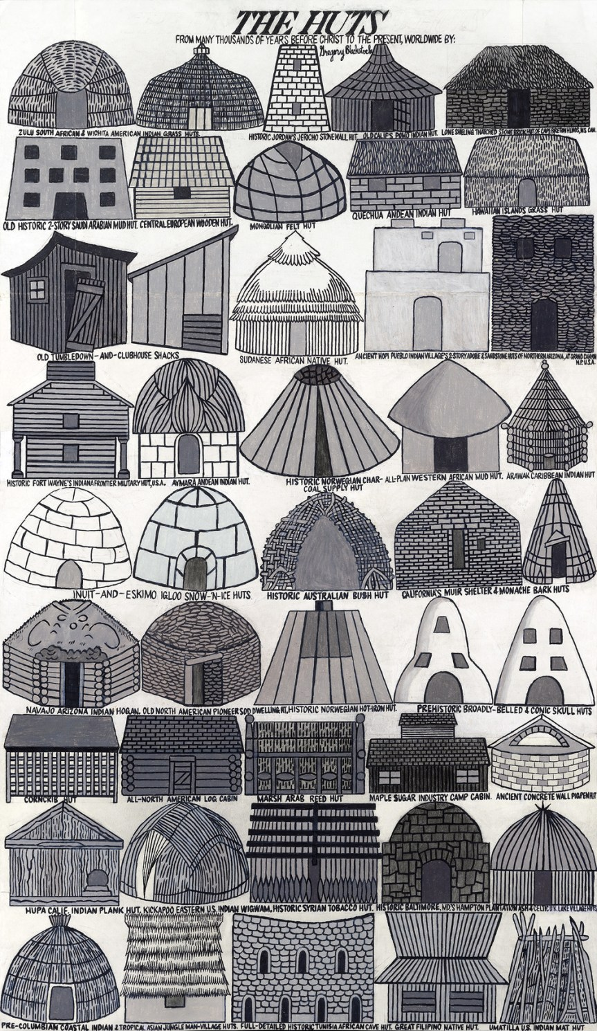 """Gregory Blackstock, The Huts, 28.5"""" x 45 3/4"""", 2013, graphite, crayon, ink, marker on paper"""