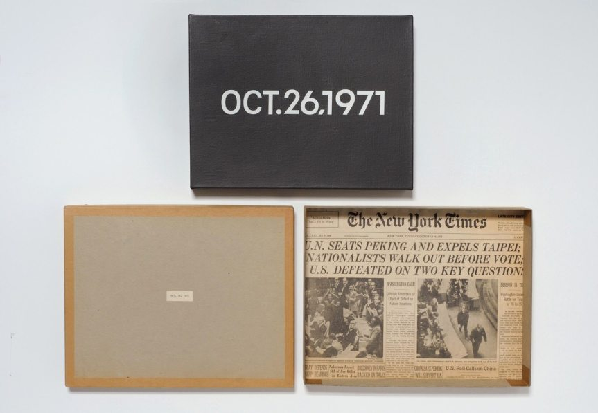 On Kawara,Oct. 26, 1971 (Today series no. 97), 1971 cardboard box, newspaper, and liquitex on canvas painting: 10 1/8 x 13 in., box bottom: 10 1/2 x 13 3/8 x 1 3/4 in. box lid: 10 5/8 x 13 1/4 x 1 3/16 in. Hirshhorn Museum and Sculpture Garden, Smithsonian Institution, Joseph H. Hirshhorn Purchase Fund, 2007. The Panza Collection