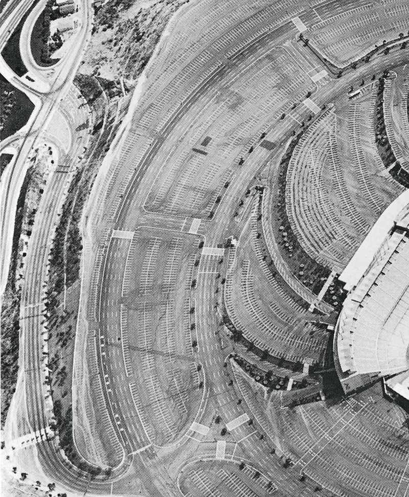Ed Ruscha Thirtyfour Parking Lots in Los Angeles1967 Detail of Dodgers Stadium, 1000 Elysian Park Ave One of 30 gelatin silver prints 9.4 x 39.4 cm
