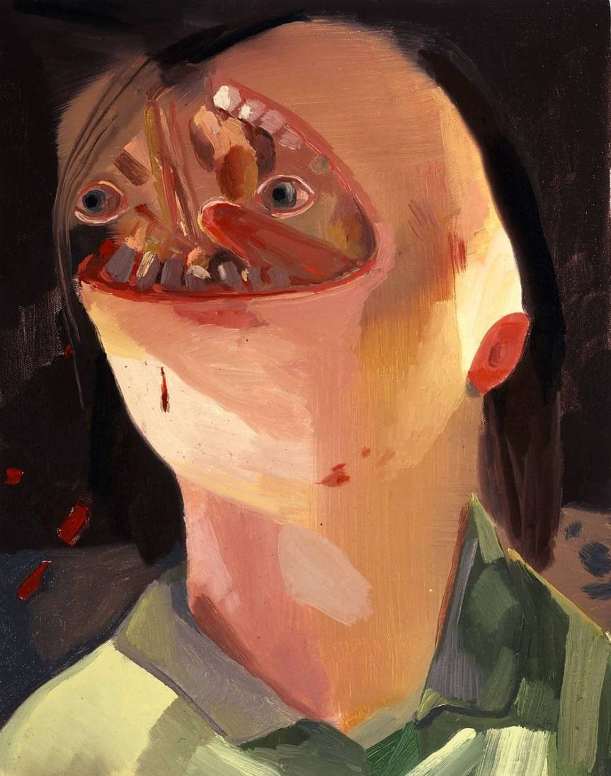 Dana Schutz Face Eater 2004 Oil on Canvas 58 x 46 cm https://www.saatchigallery.com/artists/artpages/schutz_Face_Eater.htm