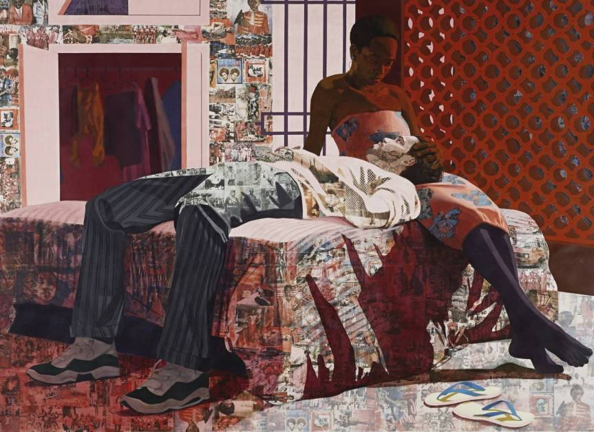 Njideka Akunyili Crosby, Nwantinti, 2012, acrylic, charcoal, colored pencil, collage and transfers on paper. http://newsdesk.si.edu/photos/njideka-akunyili-crosby-nwantinti