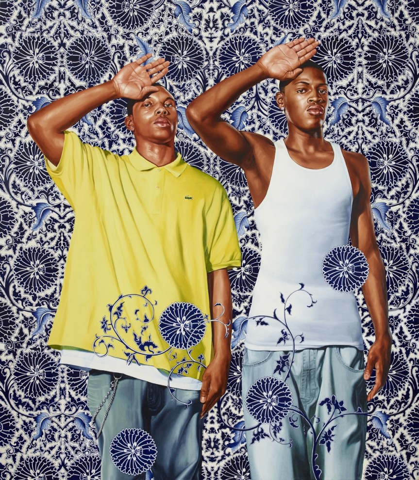 """KEHINDE WILEY, """"Two Heroic Sisters of the Grassland,"""" 2011 (oil on canvas). http://www.culturetype.com/2015/02/15/new-york-times-paints-portrait-of-kehinde-wiley/"""