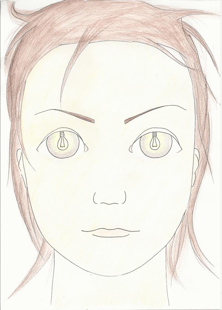portrait avec yeux éclairés par ampoules électriques