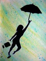 silhouette portée par parapluie