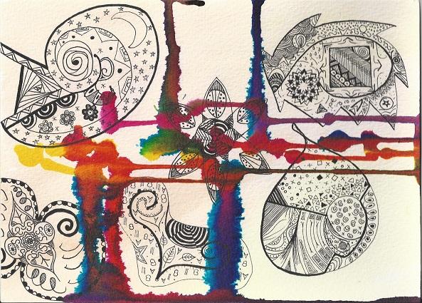 image abstraite, encres de couleurs et feutre noir