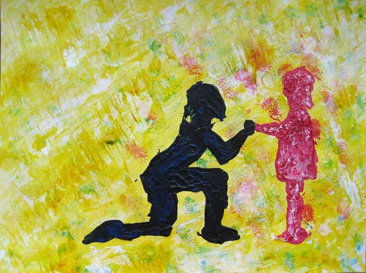 adulte demandant pardon à l'enfant