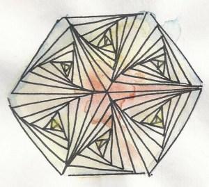 Hexagone zentangle colorié