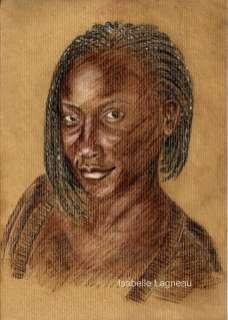 Portrait de femme noire souriante. Craies sur papier kraft