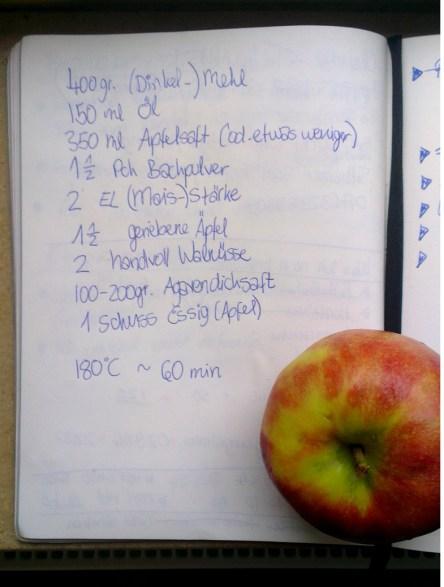 Das zuckerfrei Rezept in meinem Büchlein, dekoriert mit Apfel