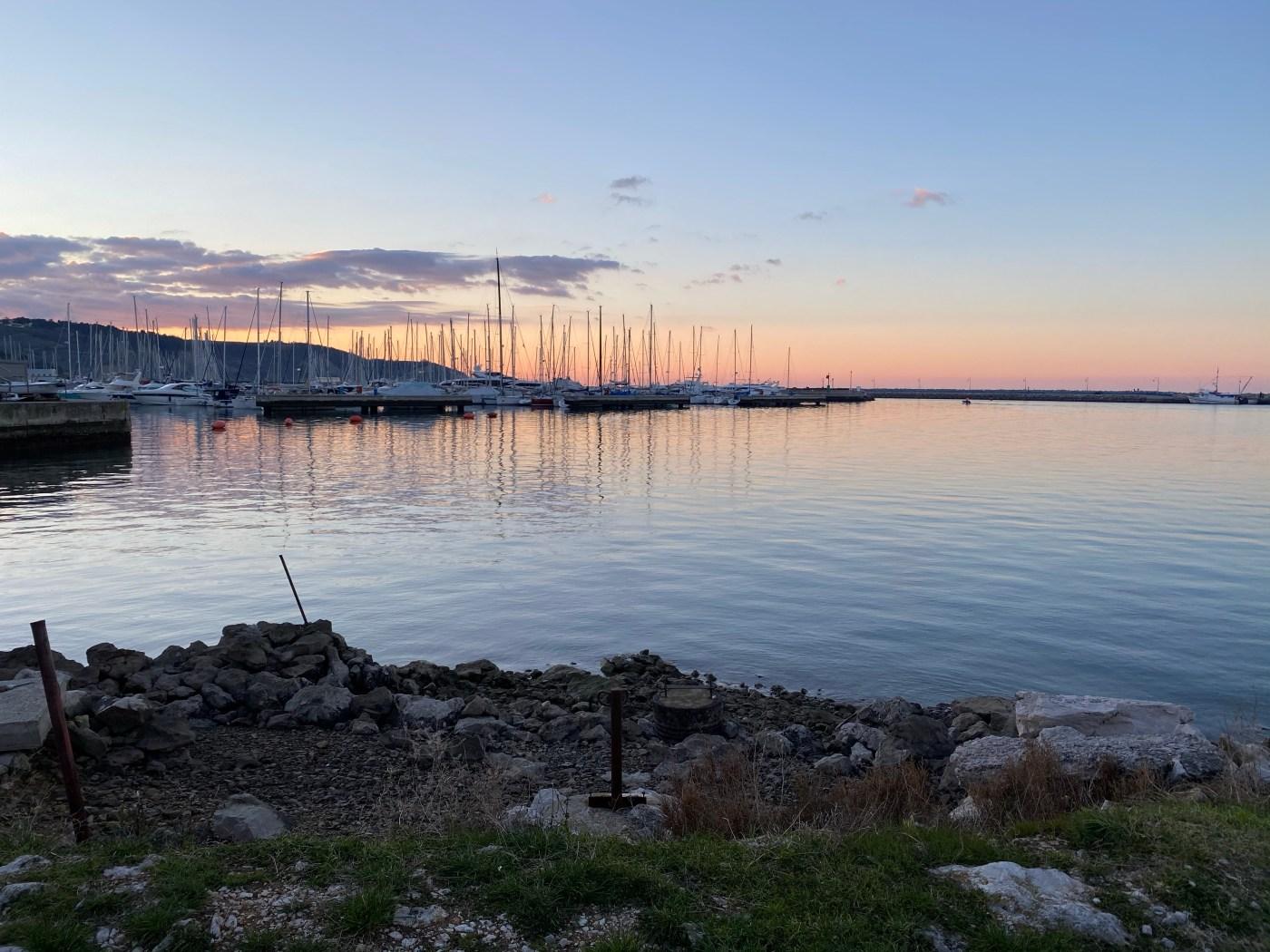 Boats, sea, sunset