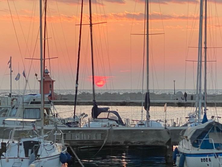 sunset, boats, sea