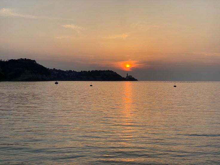 Sunset, horizon, sea