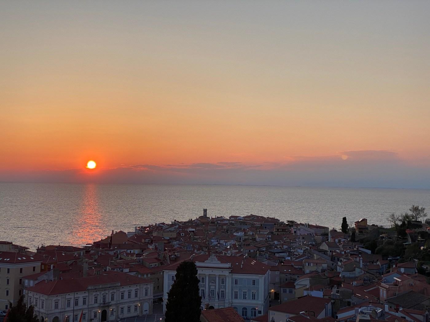 sunset, town