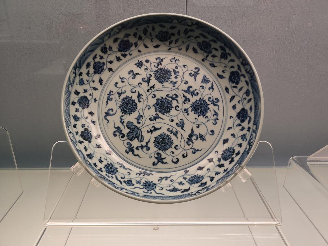 Plat chinois bleu-blanc.