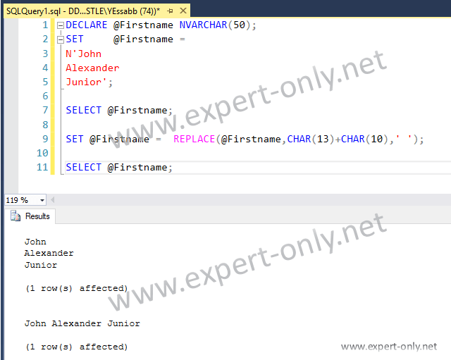 Screenshot on how to remove SQL Server new line?