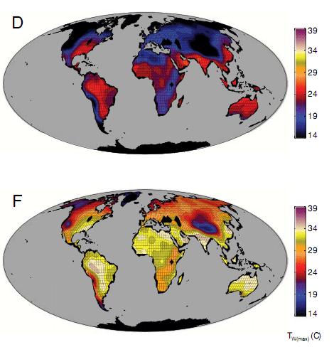 Результаты моделирования. Сверху современное состояние, снизу - Земля после 2300 года