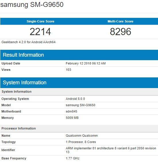 Samsung Galaxy S9 Geekbenc Snapdragon 845