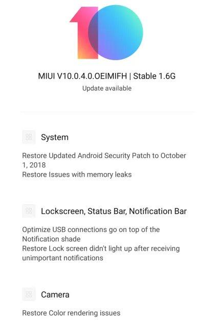 Xiaomi Redmi Note 5 Pro получил MIUI 10.0.4.0