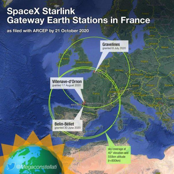 к картинке: Примерная карта расположения базовых станций Starlink во Франции. И зона их покрытия.