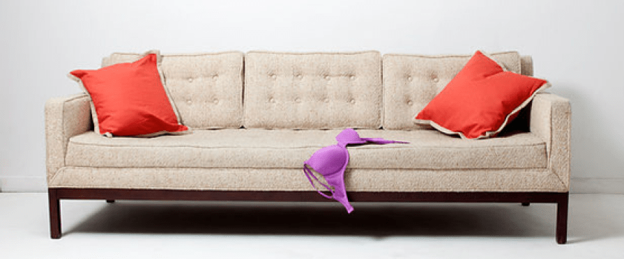 bra on an empty couch