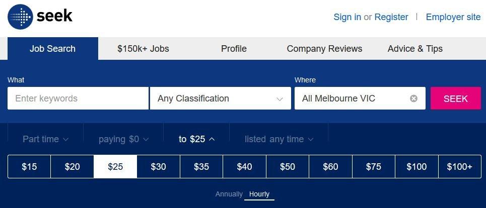 seek advanced search melbourne