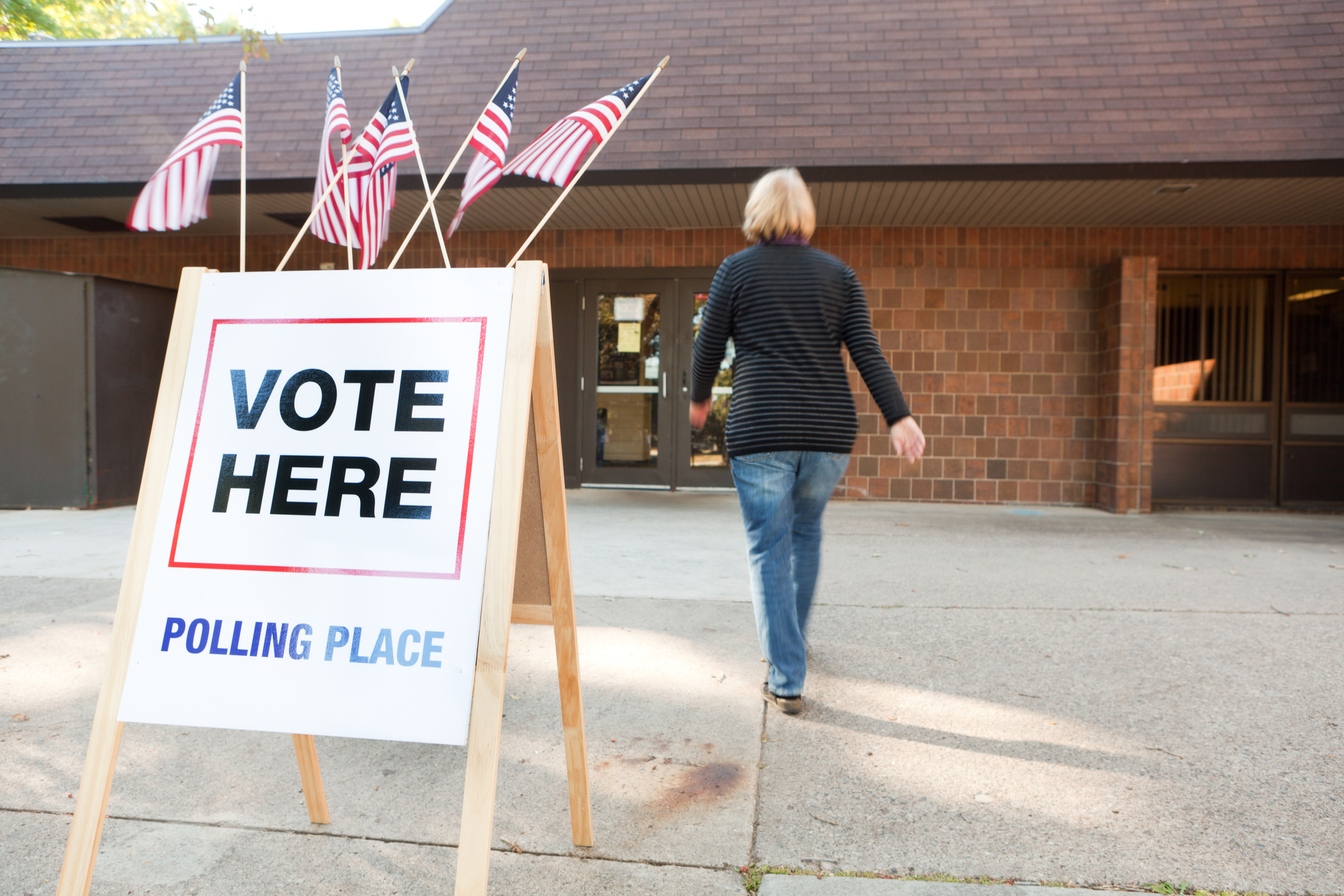 USA Election Voter Going to Polling Place Station