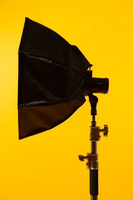 Softbox against a yellow background