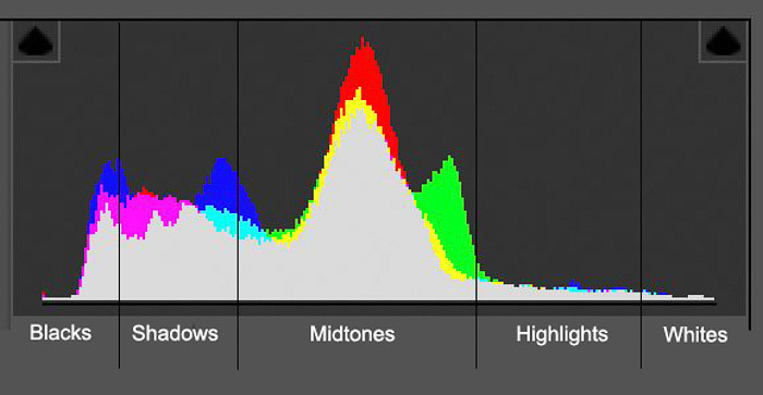 Screenshot of a photography histogram