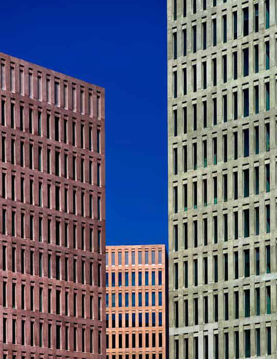 A cityscape shot of three tall buildings demonstrating the use of visual weight in photography for beginners