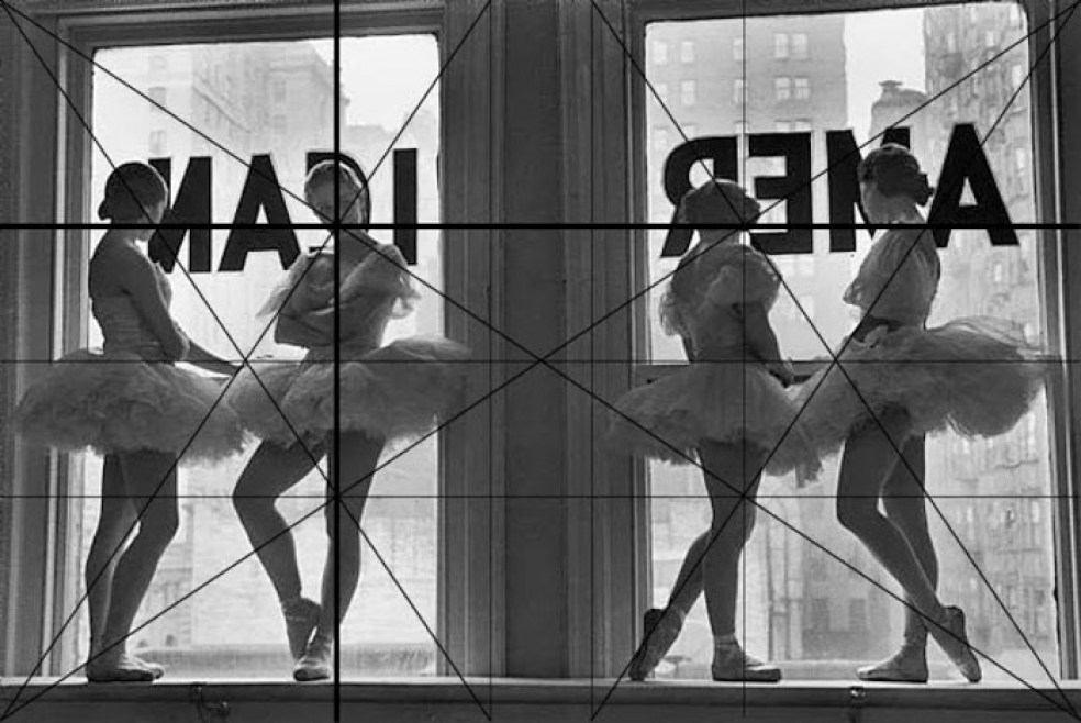 Alfred Eisenstaedt photo of ballerinas with photography composition grid overlaid