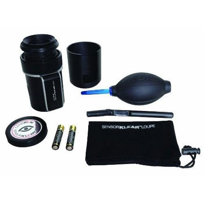 Lenspen SensorKlear Loupe Kit on white background - how to clean camera lens