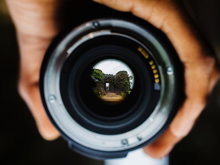 Close-up photo of a lens