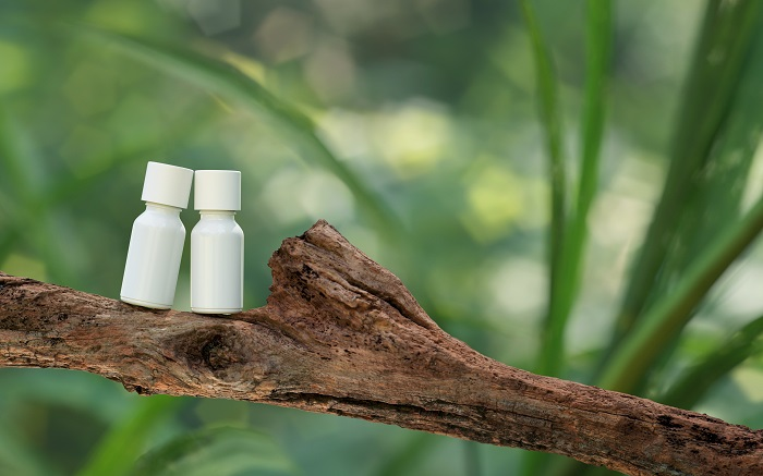 diy product photography of two cosmetics bottles on a tree branch