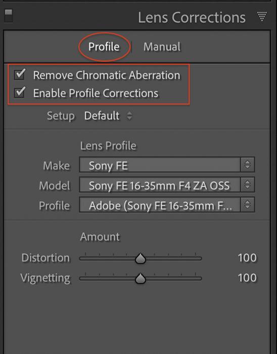 Screenshot Lightroom Classic Lens Correction panel
