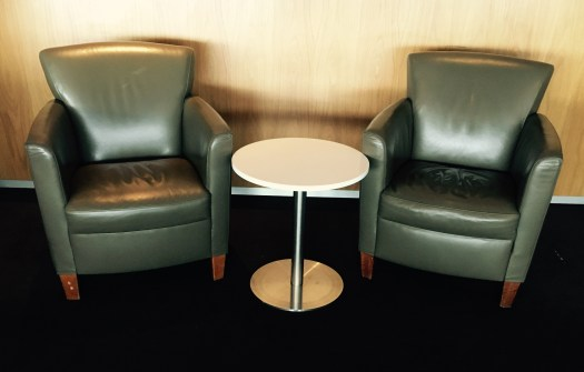 ADL LNG LEATHER ARMCHARIS WITH TABLE