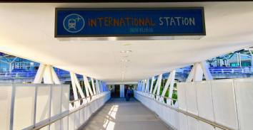 walkway from station to terminal