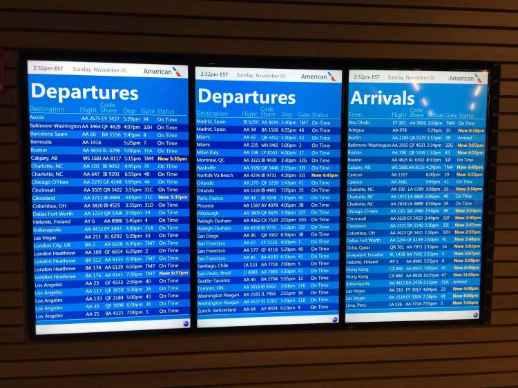 AA-Flagship-Lounge-departures-board-round-world-trip
