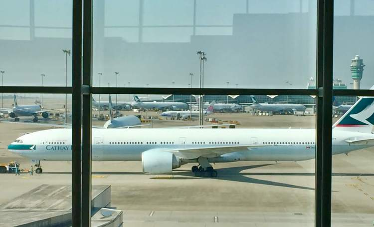 Cathay-Pacific-Wing-First-Lounge-plane-view-round-world-trip