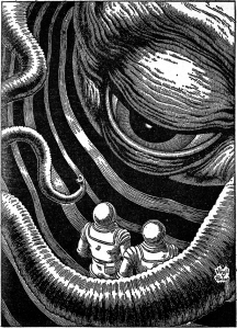 On the edge of the galaxy by Ernest Hill Virgil Finlay Illustrator Worlds of IF (October 1966)