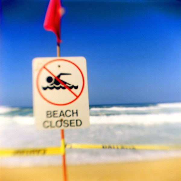 Beach closed, North Shore, O'ahu. fBHF on Ektar 100.