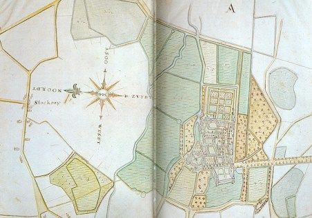 The map of Peter Meysman from 1669 is a view of the abbey from the west. The Demer, channels, fields, fishponds, orchards are beautifully illustrated as well as the formal garden east of the old abbess' residence (Bussels 1982, 40- 41).